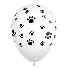 """Bag of 50 11"""" Black and White Paw Print Balloons"""