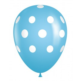 "11"" Latex Light Blue Polka Dot Balloons (Bag of 50)"