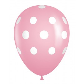 "11"" Latex Pink Polka Dot Balloons (Bag of 50)"