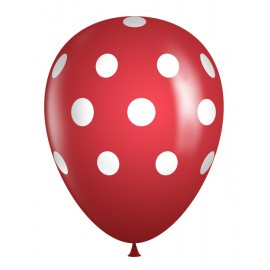 "11"" Latex Red Polka Dot Balloons (Bag of 50)"