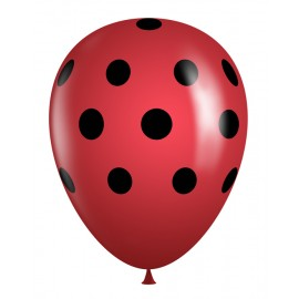"11"" Latex Red Balloon with Black Polka Dots (Bags of 50)"