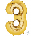 Gold SuperShape Number Three Balloon