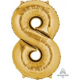 Gold SuperShape Number Eight Balloon