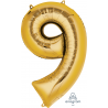 Gold SuperShape Number Nine Balloon