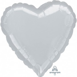 "3 Pack of Jumbo 32"" Silver Foil Heart Balloons"