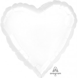 "3 Pack of Jumbo 32"" White Foil Heart Balloons"