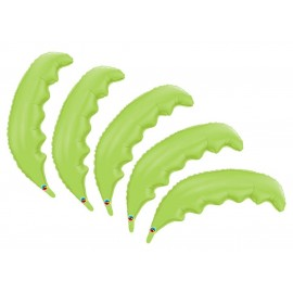 5 Pack of Lime Palm Frond Shaped Foil Balloons