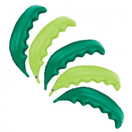 5 Pack of Lime and Green Palm Frond Shaped Foil Balloons