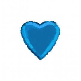"3 Pack of Metallic Blue 18""/45 cm Heart Balloons"