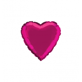 "3 Pack of Metallic Fuchsia 18""/45 cm Heart Balloons"