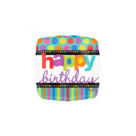 Happy Birthday Dots & Stripes Balloon (3 pack)