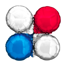 Large Red, Blue & Silver Magic Arch Foil Cluster Balloons (10 pack)