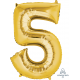 Gold SuperShape Number Five Balloon