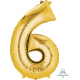 Gold SuperShape Number Six Balloon