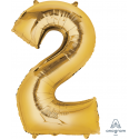 Gold SuperShape Number Two Balloon