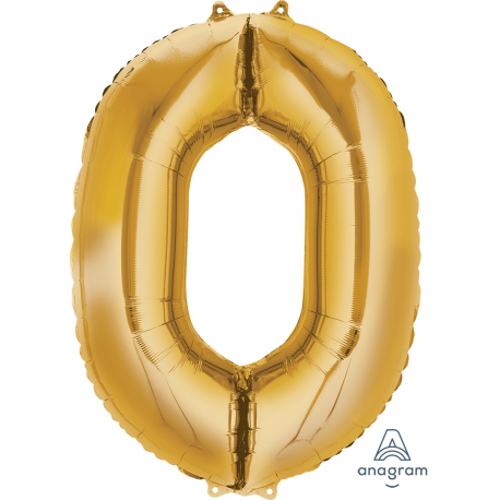 Gold SuperShape Number Zero Balloon
