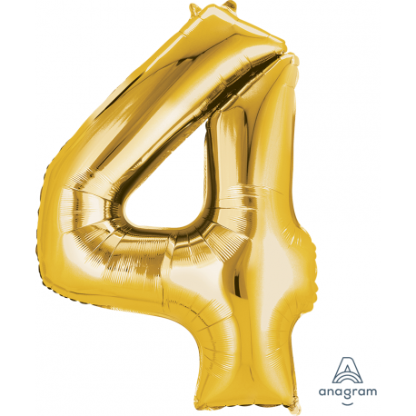 Gold SuperShape Number Four Balloon