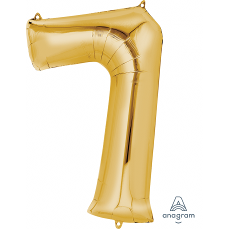 Gold SuperShape Number Seven Balloon