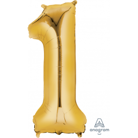 Gold SuperShape Number One Balloon