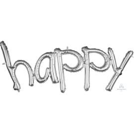 "Silver ""Happy"" Phrase Balloon"