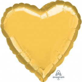 "3 Pack of Jumbo 32"" Gold Foil Heart Balloons"